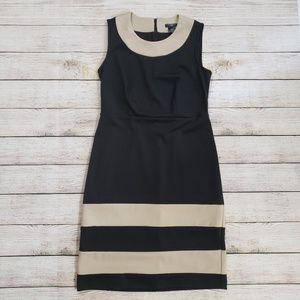 Ann Taylor 0 Petite Black and Tan Dress